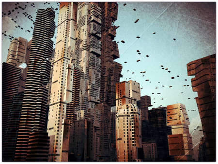 futuristic city: future city in old grunge photo Stock Photo