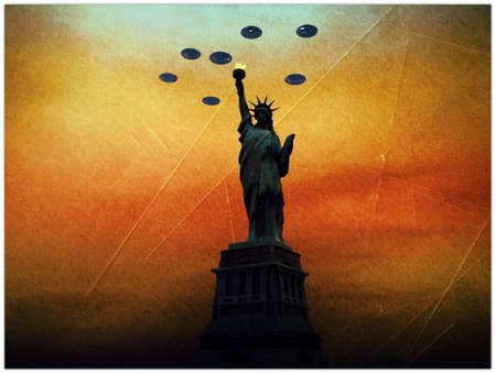 ufo invaders over statue of liberty in old picture Stock Photo - 11452686