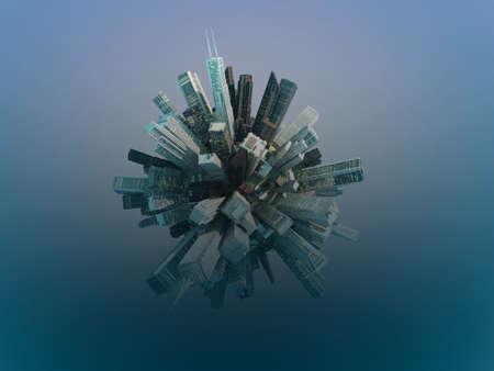 miniature: crowded city around a globe