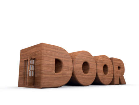 door font with a wooden door on the side photo