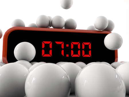 digital alarm clock under falling spheres