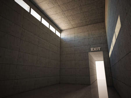 exit door in concrete room photo