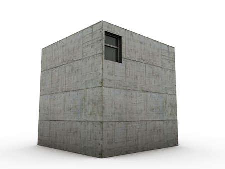 cube concrete house isolated on white background photo
