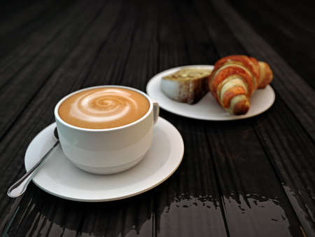 cappucino and croissant photo