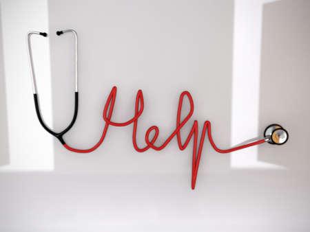 nursing treatment: estetoscopio convertido en una palabra AYUDA