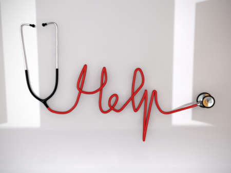 cardiac care: stethoscope made into a HELP word Stock Photo