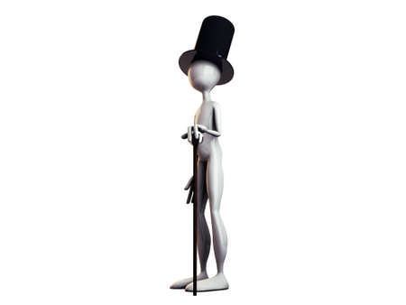 3d man with black top hat