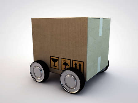 cardboard box with wheels isolated on white background photo
