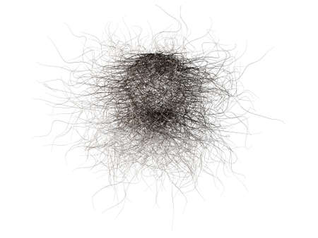 hair problem: ball of hair isolated on white background