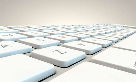 computer keyboard keys: white keyboard isolated on white background Stock Photo