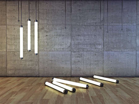 thin bulb: neon bulbs in concrete room