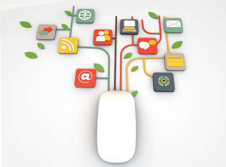 通信: 白の背景に分離されたマウス接続