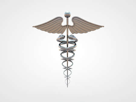 caduceus isolated on white background photo