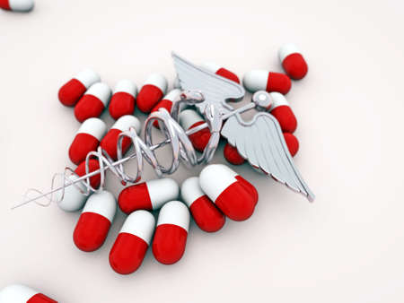 medical pills with caduceus on white floor Stock Photo - 13267893