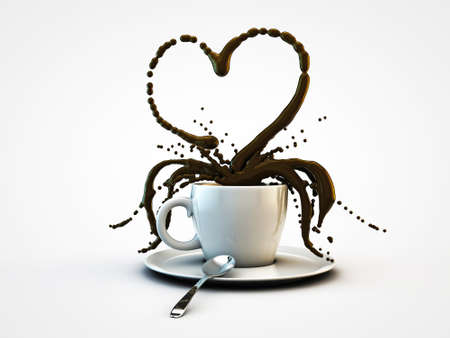 white cup coffee heart shape isolated on white background photo