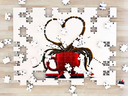 red coffee cup heart shape on a puzzle photo