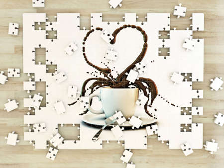white cup coffee heart shape on puzzle photo