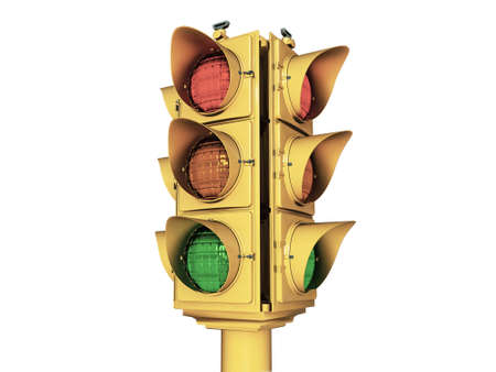 traffic light isolated on white background photo