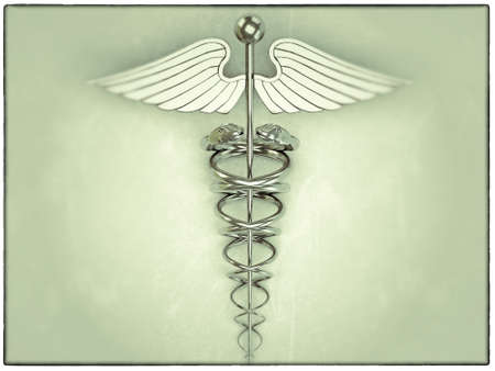 caduceus in old grunge picture Stock Photo - 13372840