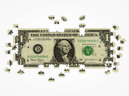 dollar puzzle isolated on white background photo