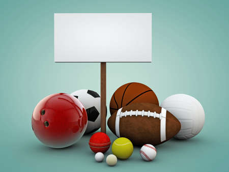 sport balls with blank billboard photo