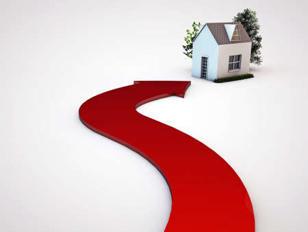 commercial real estate: red arrow pointing a house isolated on white background Stock Photo