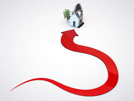 red arrow pointing a house isolated on white background photo