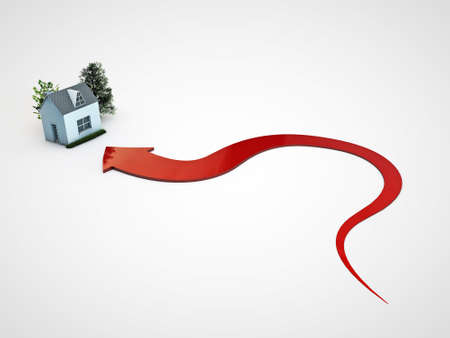 sold small: red arrow pointing a house isolated on white background Stock Photo