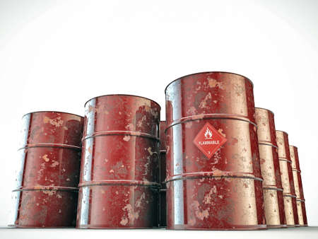 flammable barrels isolated on white background photo
