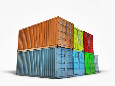 containers isolated on white background photo
