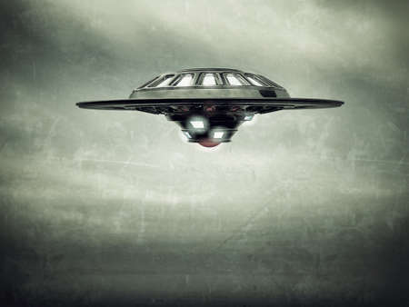 invasion: ufo spaceship vessel flying in cloudy sky