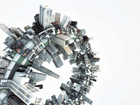 futuristic city around a ring isolated on white background Stock Photo - 13624799