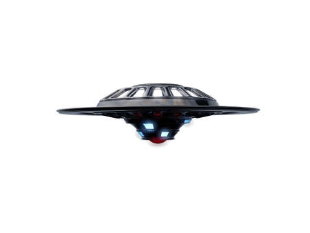 ufo spaceship isolated on white background photo