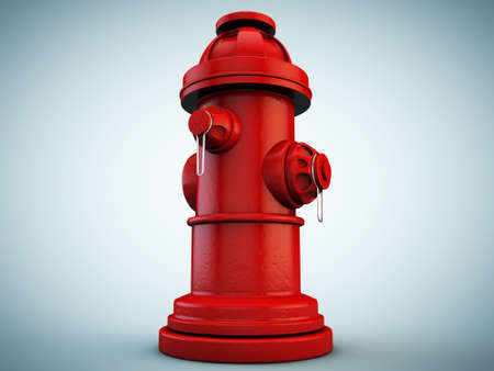 fire plug: hydrant isolated on blue background Stock Photo