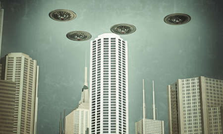 ufo flying in formation over skyscrapers photo