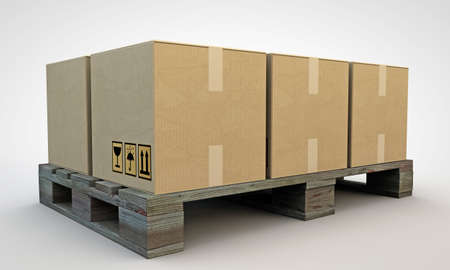 palet: cajas de cart�n aisladas sobre fondo blanco