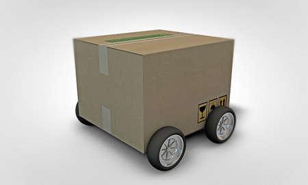 cardboard on wheels isolated on white background photo