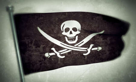 pirates flag isolated on white background photo