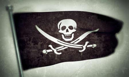 pirates flag isolated on white background photo