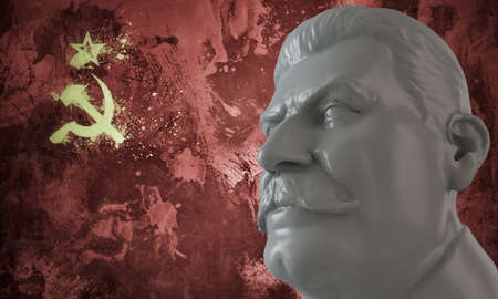 stalin bust with russian flag on background photo