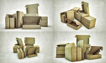 cardboard boxes isolated on white background photo