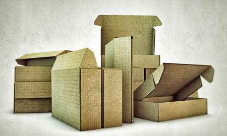 corrugated cardboard: cardboard boxes isolated on white background Stock Photo
