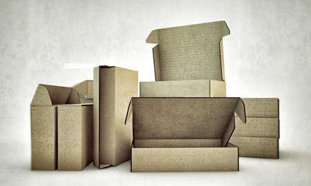 cardboard boxes isolated on white background photo