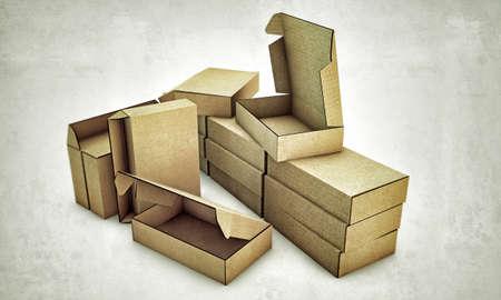 cardboard boxes isolated on white background Stock Photo - 13980957