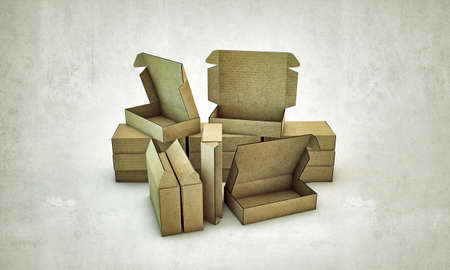 cardboard boxes isolated on white background Stock Photo - 13980945