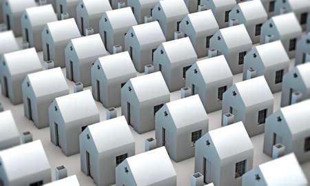 many houses isolated on white background photo