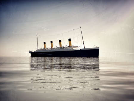 ocean liner: ocean liner titanic in the sea