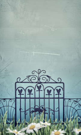 magic gate in old grunge picture photo