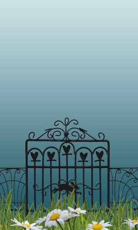 metal gate in a beautiful garden photo