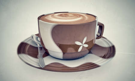 milk chocolate: cappuccino in old photo isolated on white background